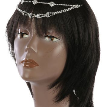 Clear Double Layer Rhinestone Head Chain Hair Accessory