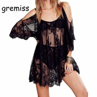 Gremiss Plus Size Women Tops Fashion Lace Blouse White Black Off  Shoulder Sheer Sexy Beach Loose Blouses