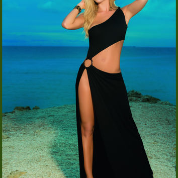 Sexy An Slinky Black A-Symmetrical beach cover Up Dress