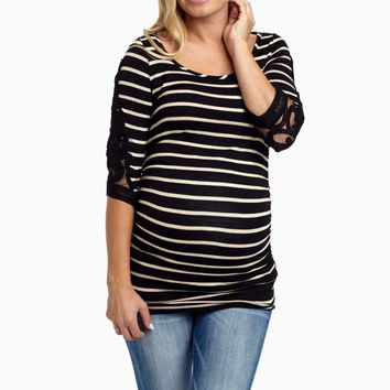 Black-Striped-Crochet-Sleeve-Fitted-Maternity-Top
