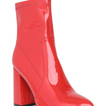 Havana Pointed Block Heeled Ankle Boots In Red Patent PU