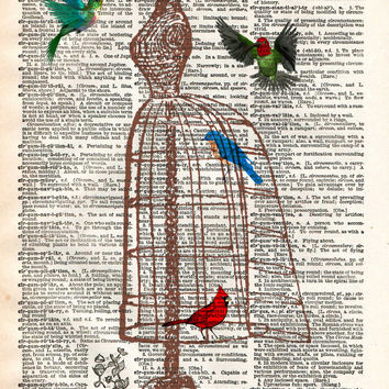 Dress form birdcage, hummingbird art, vintage dictionary page art print