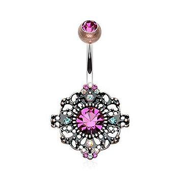 Vintage Boho Filigree Flower 316L Surgical Steel Belly Button Ring