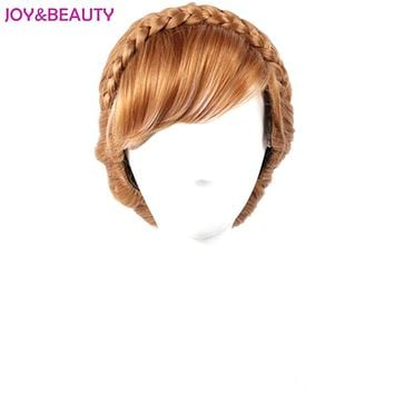 Braided Brown and White Mixed Synthetic Hair Anna Wig Children Cosplay Wig