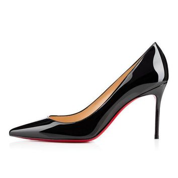 PEAPUX5 christian louboutin cl decollete 554 black patent leather 85mm stiletto heel classic