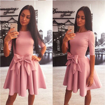 Bow Design Waist Half Sleeve Pleated Dress