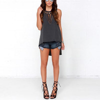 Grey Cutout Asymmetrical Sleeveless Shirt