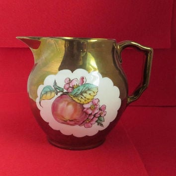 Gray's Pottery Gold Lustre Pitcher, Vintage Hand Painted British Creamer English Pottery Housewarming Gift