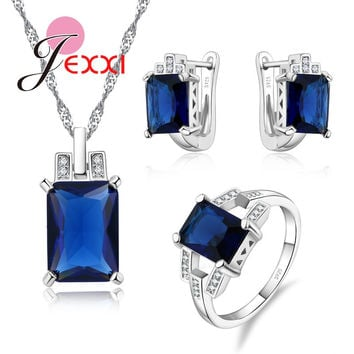 JEXXI Luxury Big Square Cubic Zirconia 925 Sterling Silver Wedding Bridal Jewellery Sets Women Hoop Earrings Necklace Ring Set