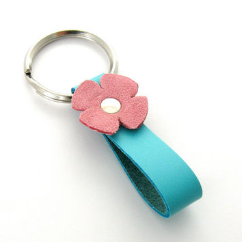 Leather Flower Key Ring in Pink and Aqua NEW by peaseblossomstudio
