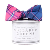 Spyglass Plaid PInk Blue Bow Tie American Made