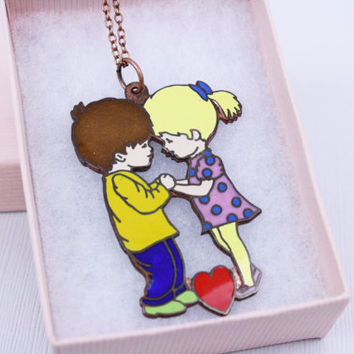 Vintage Couple Necklace Boyfriend Girlfriend Necklace