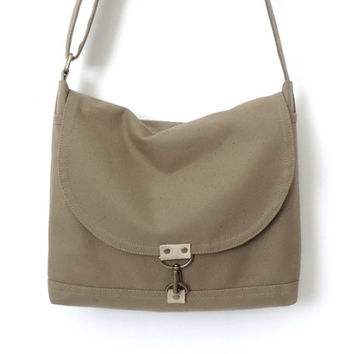 Canvas Messenger Bag Crossbody Satchel Bag Tan