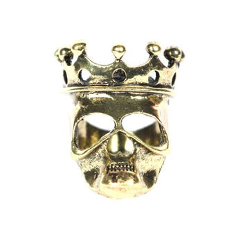 Skeleton King Ring Size 6 Undead Crown Skull Gold Tone Zombie Lord RH39 Cocktail Fashion Jewelry