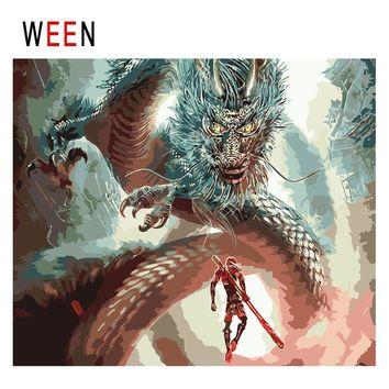 WEEN Man Facing Dragon Diy Painting By Numbers Abstract Fighting Oil Painting On Canvas Cuadros Decoracion Acrylic Wall Art 2018