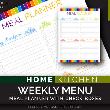 Weekly Menu, Meal check-list check-box Planner, Kitchen Printable Planner, DIY Colorful Binder Organizer || Household PDF Printables