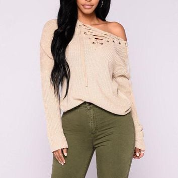 LMFON1O Day First Emma Rose Lace Up Sweater - Oatmeal