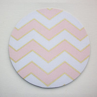 Mouse Pad mousepad / Mat - round - Shiny gold pink chevron - Computer Accessories Geekery Custom Desk Coworker Gifts Office Gifts