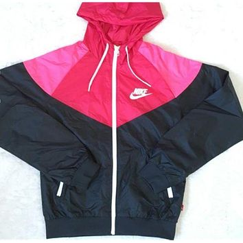 """NIKE"" Trending Women Print Zipper Hoodie Sweatshirt Cardigan Coat Jacket Windbreaker Black Pink I"