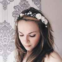 Bridal crown, Bridal flower crown, Wedding crown, Wedding flower crown,white flower crown,flower crown, floral crown,rustic hair accessorize