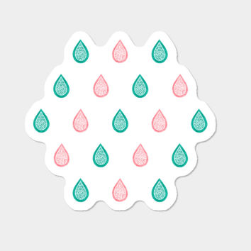 Coral Pink And Teal Blue Droplets Sticker By Savousepate Design By Humans
