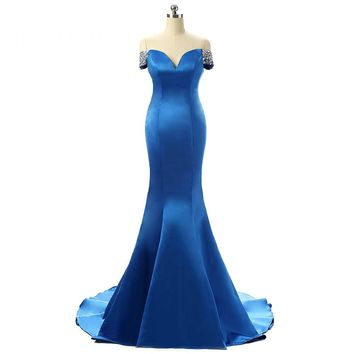 Sexy V Neck Mermaid Long Evening Dresses Open Back Cap Sleeves Beaded Floor Length Evening Dress