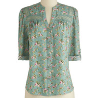 ModCloth Mid-length Long Sleeve Treat the Parents Top in Floral
