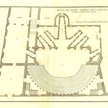 Teatro Olimpico de Vicenza  Floor Plan 1760 Palladio Antique Architectural Drawing Engraving