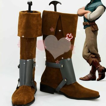 Tangled Rapunzel Flynn Rider Cosplay Shoes Boots Custom Made Halloween Free Shipping