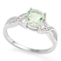 Sterling Silver Prasiolite Green Quartz & White Sapphire Round Twist Ring