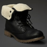 Fold-Over Shearling Combat Boot