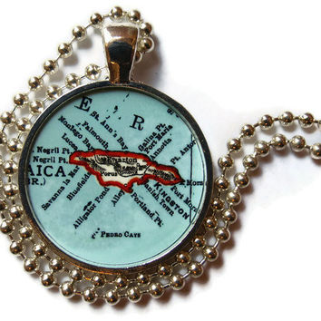 Jamaica map necklace pendant charm, Jamaica jewelry, Jamaican pendant 2 of 3