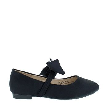 Satin Bow Kids Flat (BLACK)