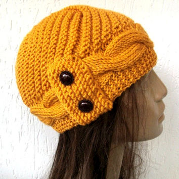Hand Knit  Hat- winter hat - Womens hat  Cloche hat  in Mustard hat  Winter Accessories  Fall Autumn Winter  Fashion Valentines Day Gift
