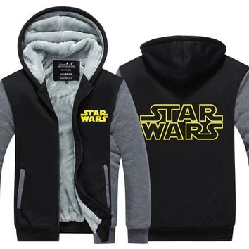 2016 New Star Wars Hoodie Darth Vader Jedi knight Winter Thicken Hooded Zipper Mens Sweatshirts  Hot Sale USA EU size Plus size