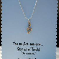Pitch Perfect Treble Clef Necklace on Birthday Card