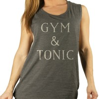 Gym and Tonic Drop Armhole Charcoal Muscle Tank Top