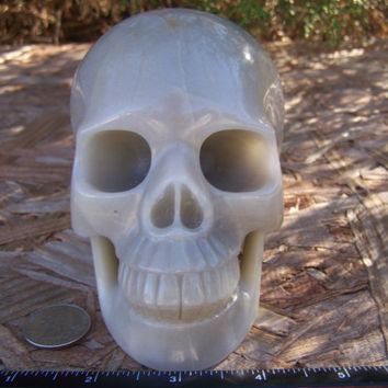 "Huge Massive 5.1"" 1366g 3.0 Pounds Agate Skull Handmade Magick Crystal Healing Wicca Reiki Shrine Altar Big Massive SK1366"