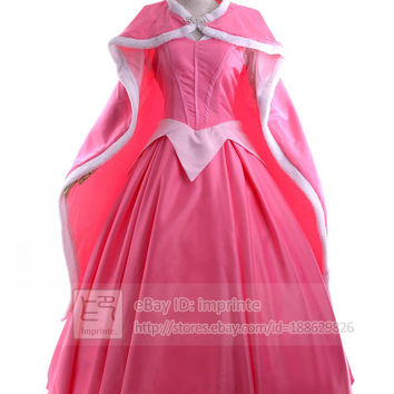 Sleeping Beauty Aurora Costume Adult Dexlue Princess Ball Gown Dress Cosplay