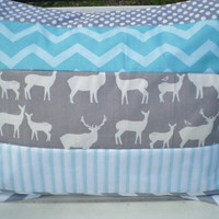 Throw pillow cover,Nursery pillow cover,woodland rustic pillow,boy or girl room throw,deer,elk,chevron,dots,grey,teal,aqua,12 by 16inches