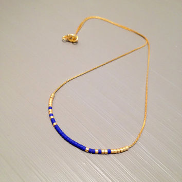 Boho Necklace Layering Necklace gold short neckace seed Bead necklace Delicate necklace Short Gold Necklace