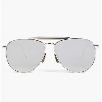 Thom Browne Thom Browne Sunglasses TB-015 Limited Edition Silver Aviator Sunglasses