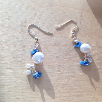 White freshwater pearl earrings, freshwater pearl and blue bamboo coral, simple modern white pearl earrings