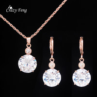 Gold Plated Bridal Crystal Jewelry Set For Women Wedding Party  Jewelry Pendant Necklace Earrings Cute  Jewelry