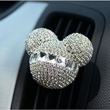 FINEX Auto Mickey Mouse Sparkling Car Fragrance Air Freshener Holder ContainerSet of 2 (White)