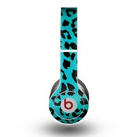 The Hot Teal Vector Leopard Print Skin for the Beats by Dre Original Solo-Solo HD Headphones