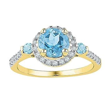 10kt Yellow Gold Women's Round Lab-Created Blue Topaz Solitaire Diamond Ring 1/5 Cttw - FREE Shipping (US/CAN)