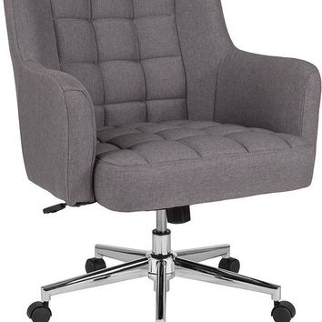 Laone Home and Office Upholstered Mid-Back Chair in Light Gray Fabric [BT-1176-LGY-F-GG]