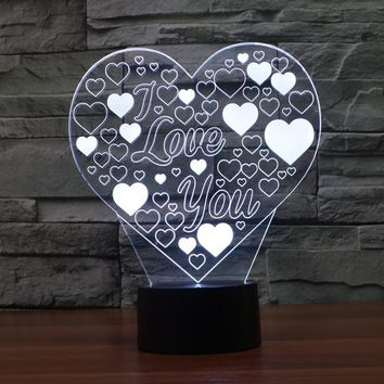 Love You Heart 3D LED Night Light Lamp