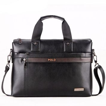 Men's Casual Leather Business Briefcase with Shoulder Strap